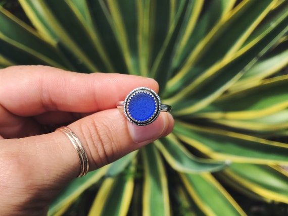 genuine shaped cobalt blue sea glass moonshine ring, size 7