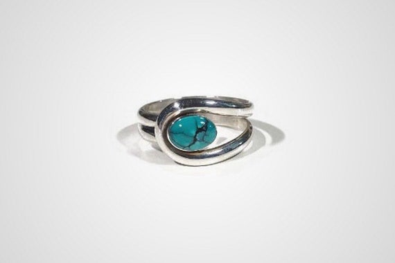 vintage turquoise sterling silver ring, size 6 1/2