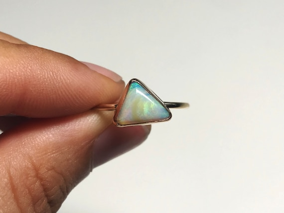 electric clouds triangle boulder opal stacking ring in gold