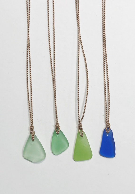 sea glass necklaces on silk cord