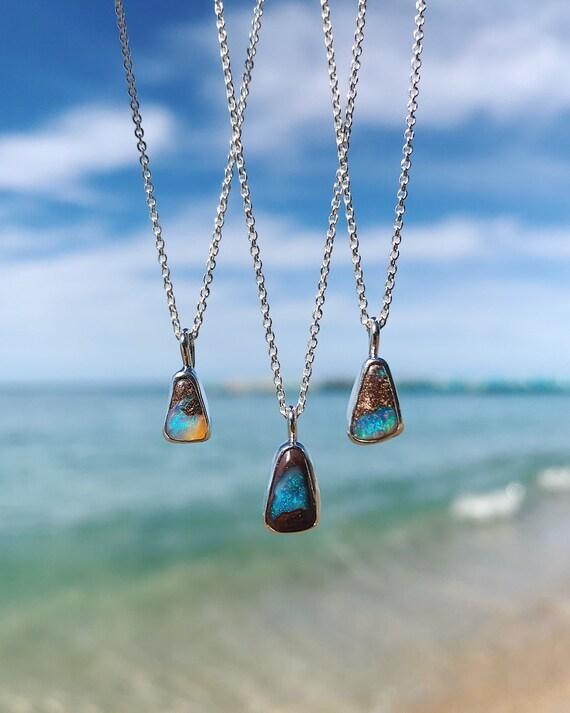 petite triangles Australian boulder opal necklaces
