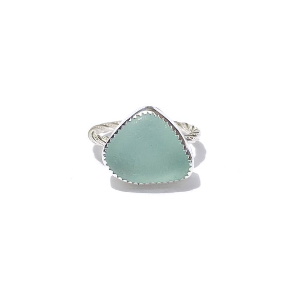 sea foam blue sea glass ring, size 7 3/4