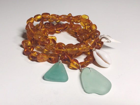 Baltic amber bracelet for adults, with & without beach charms