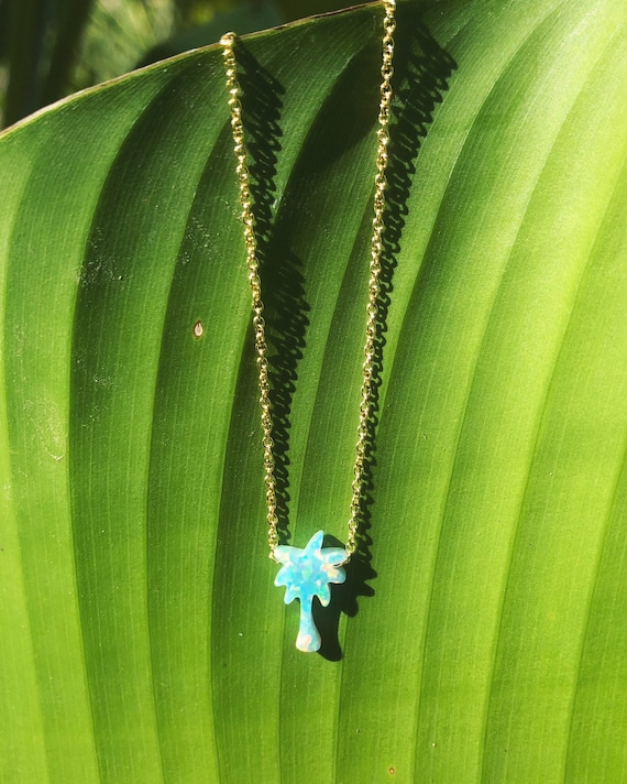 opal palm tree charm necklace on a dainty chain
