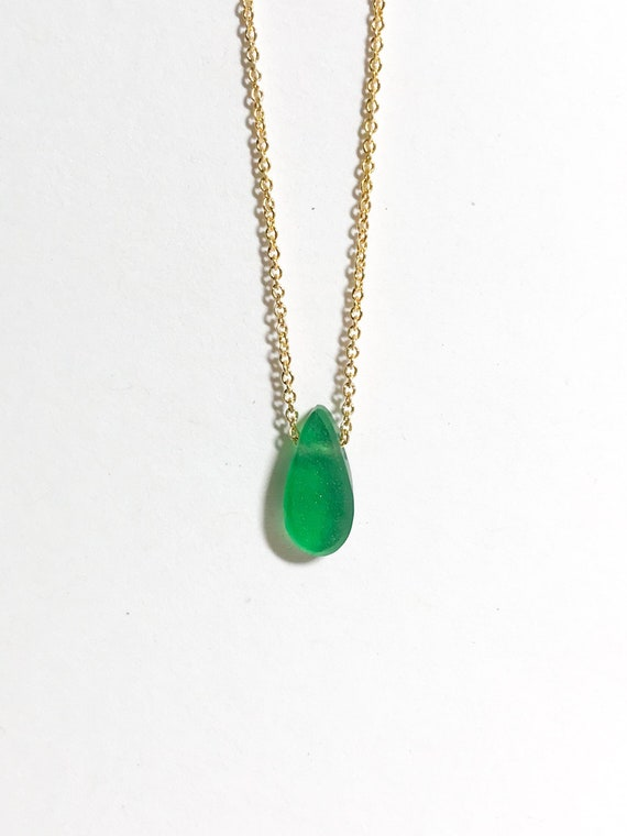 emerald green ocean drop necklace in sterling silver or 14k gold fill