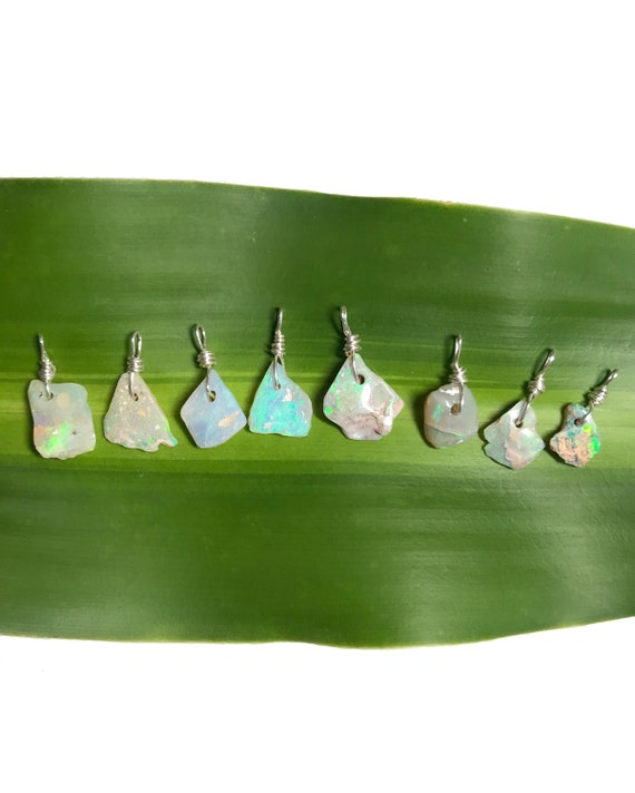 dainty raw boulder opal sterling silver necklaces - 25% towards Bahamas post hurricane Dorian food aid