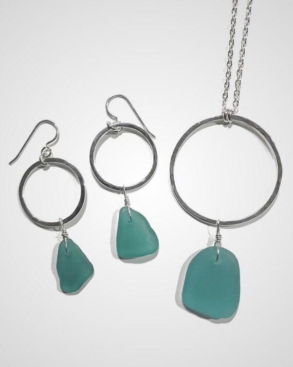 teal sea glass hoop earrings & necklace