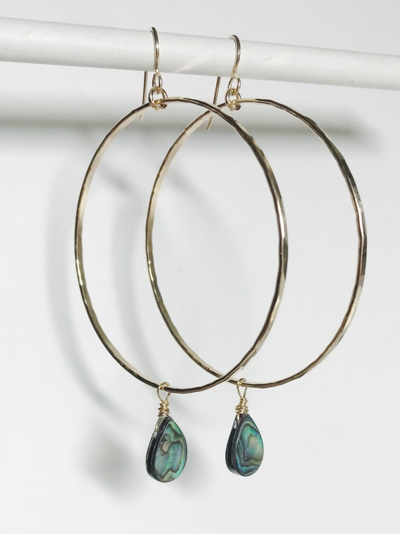 large 14k gold fill abalone hoops