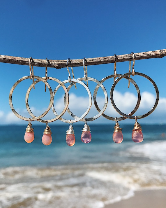 pink opal hoops in silver or gold