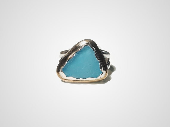 rare genuine aquamarine sea glass ring, size 6