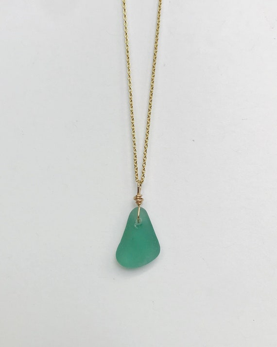 rare genuine teal sea glass necklace on a 14k gold filled chain