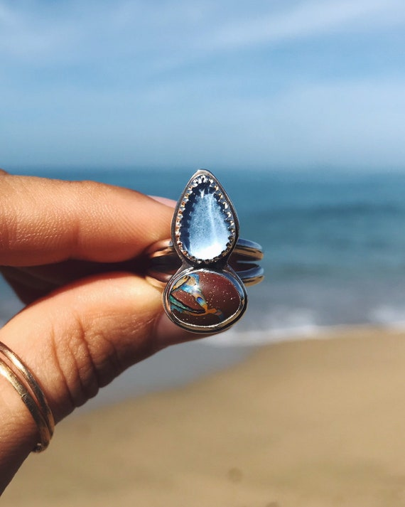 sea glass & boulder opal ring, size 7