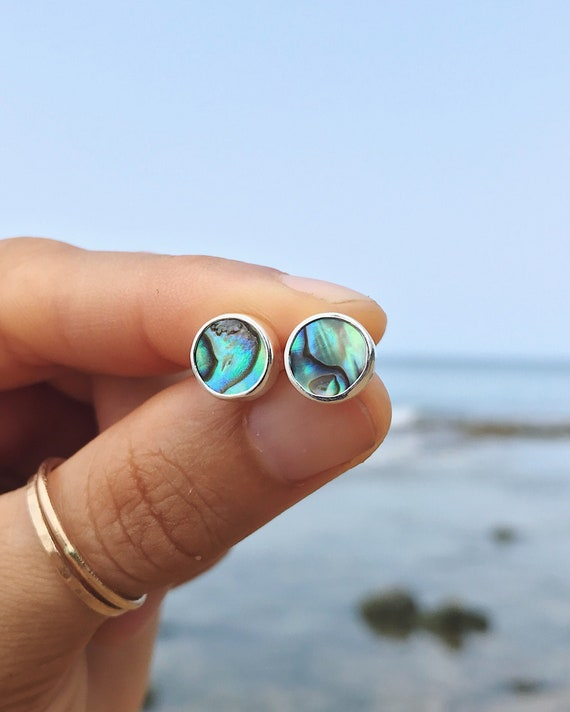 abalone stud earrings in silver or gold