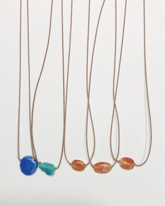gemstone necklaces on silk cord