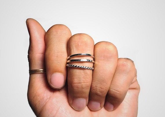 dainty stacking rings in sterling silver // 14k gold fill // 14k rose gold fill