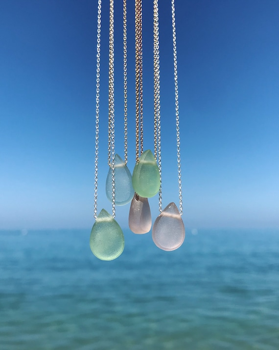 ocean drop necklaces - shaped sea glass tear drops on silver // 14k gold fill // rose gold fill