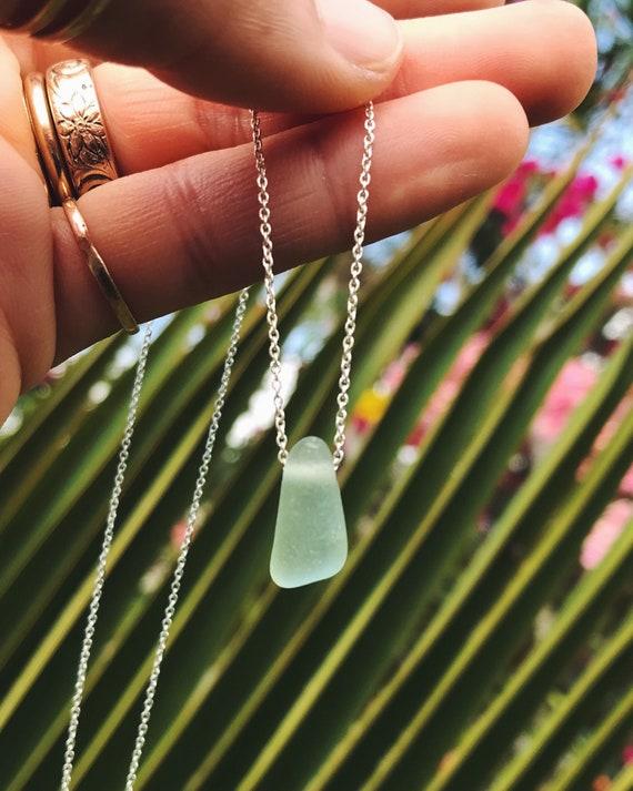 genuine sea foam sea glass necklace on a sterling silver chain