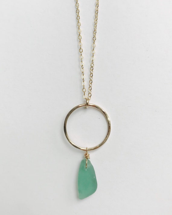 genuine rare teal sea glass hoop necklace in gold