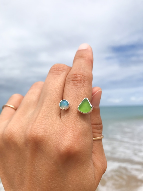 lime green sea glass + opal ring, size 7/8
