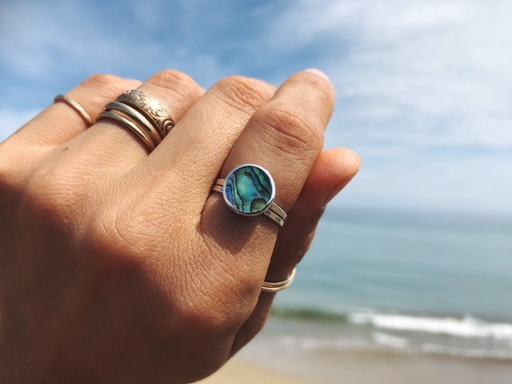 sterling silver abalone stacking ring, made to order