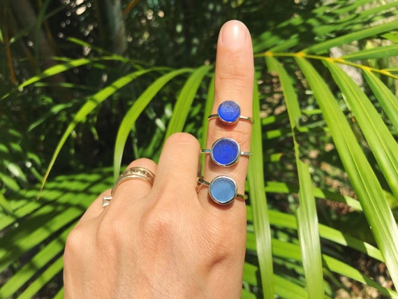 blue shaped sea glass sun stacking ring