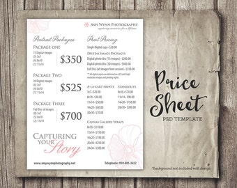 photography template photography price list marketing psd etsy