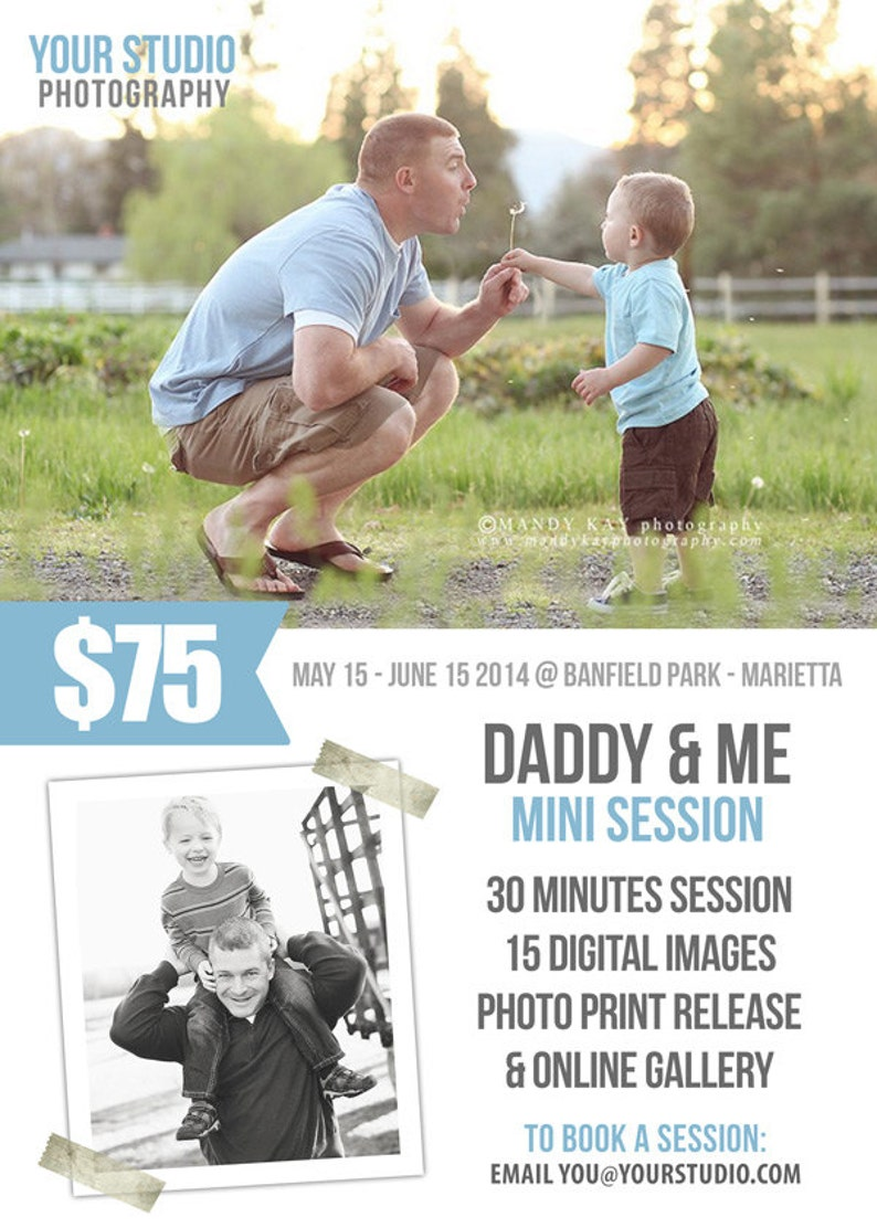Photography Marketing INSTANT DOWNLOAD Father/'s Day Mini Session 5x7 PSD Newsletter Template Daddy and Me Photography Marketing Board
