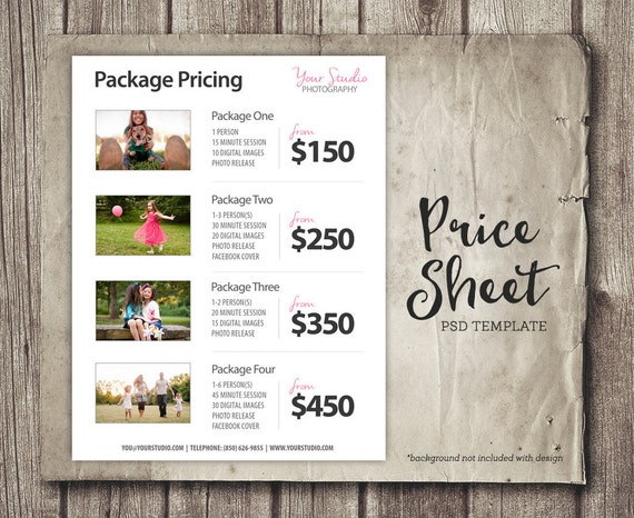 price list template photography pricing list sell sheet