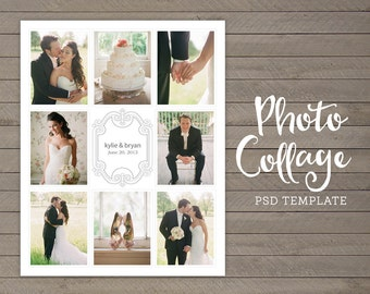 Wedding Photo Collage - Wedding Picture Collage - 16x20 - Collage Poster Print - Printable Photo Collage - Photography - INSTANT DOWNLOAD