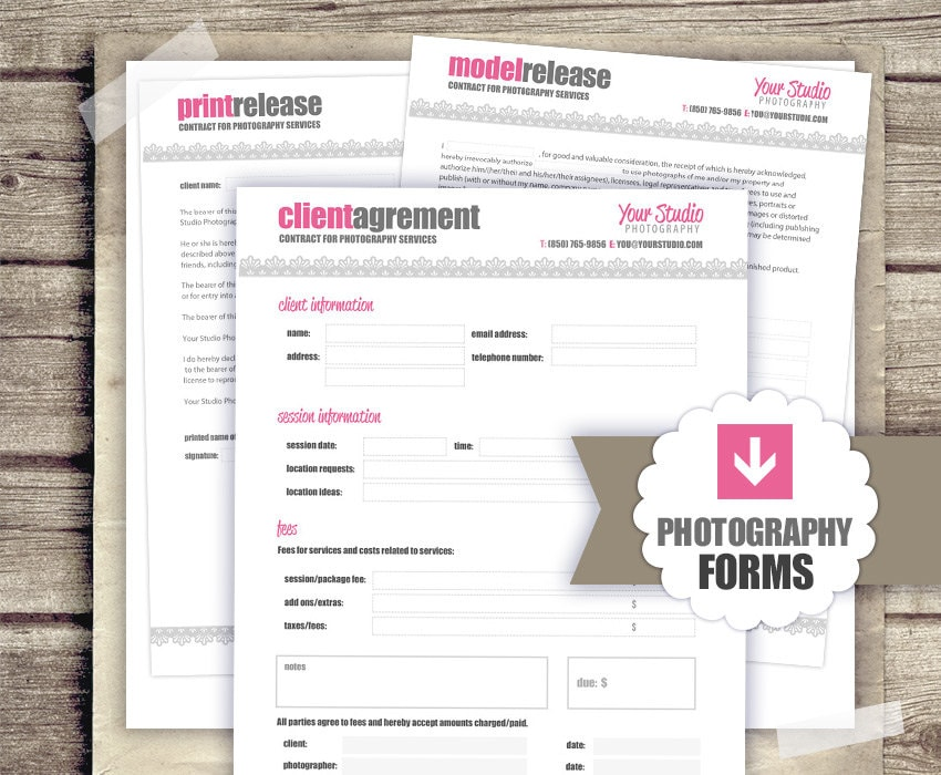 Photography business forms kit client agreement print etsy zoom cheaphphosting Choice Image
