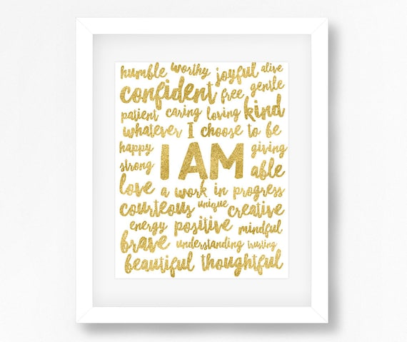Positive Affirmations, Positive Quotes, I AM Affirmation, Inspirational  Motivational Affirmation Wall Art Printable Quote, Word Art Print
