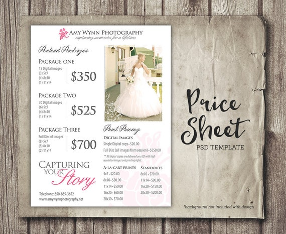 Wedding Price Sheet Photography Template Photographer Price Etsy