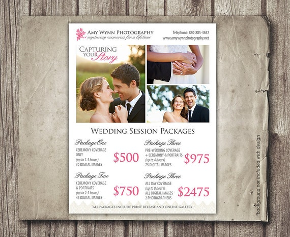 Wedding Photography Package Pricing Photographer Price List Etsy