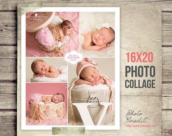 Newborn Photo Collage - Baby Picture Collage - 16x20 - Collage Poster Print - Printable Photo Collage - Photography - INSTANT DOWNLOAD