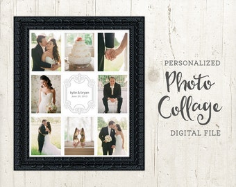 Wedding Photo Collage - Custom Wedding Picture Collage - Collage Poster Print - Printable Photo Collage - Photography - PERSONALIZED