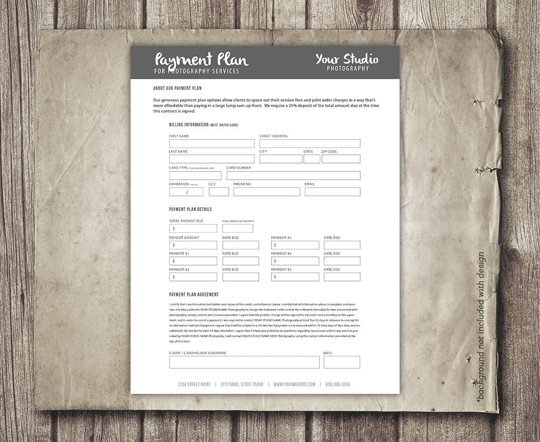 Photography Payment Plan Form Template Financial Contract Etsy