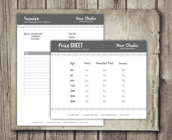 Photography Business Forms Invoice Form And Portrait Pricing Etsy - What is invoice price vs msrp for service business