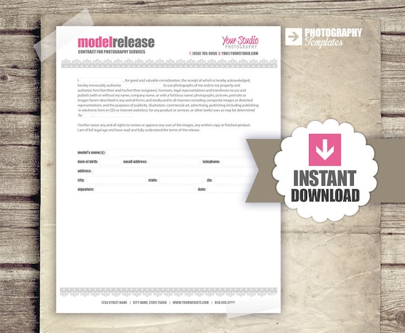 Photography business forms model release form for etsy image 0 wajeb Gallery