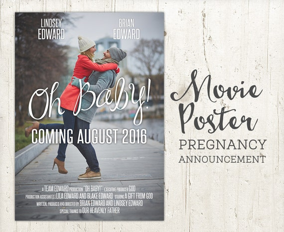 pregnancy announcement baby announcement movie poster sign etsy