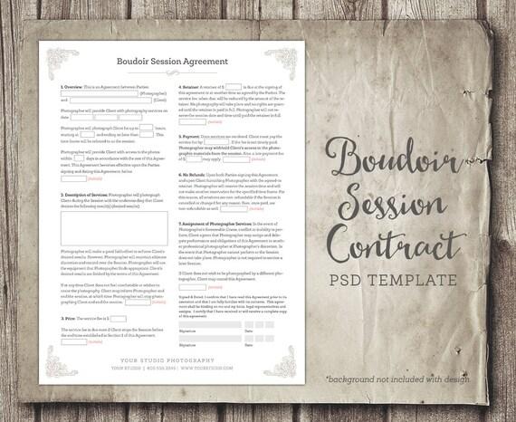Boudoir Session Client Agreement Form Template Business Form Etsy