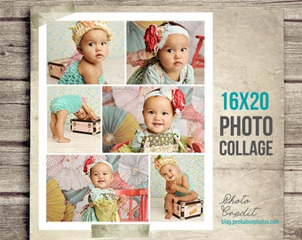 Baby Photo Collage - Baby Picture Collage - 16x20 - Collage Toddler Baby - Printable Photo Collage - Baby Photography - INSTANT DOWNLOAD