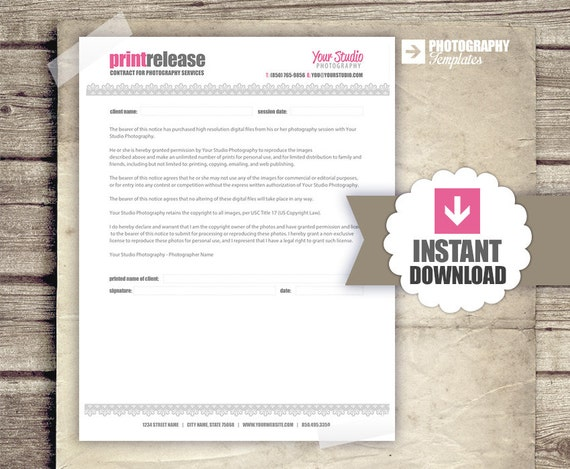 Photography business forms print release form for photographers photography business forms print release form for photographers photographer print release contract instant download from studiotwentynine on etsy accmission Gallery