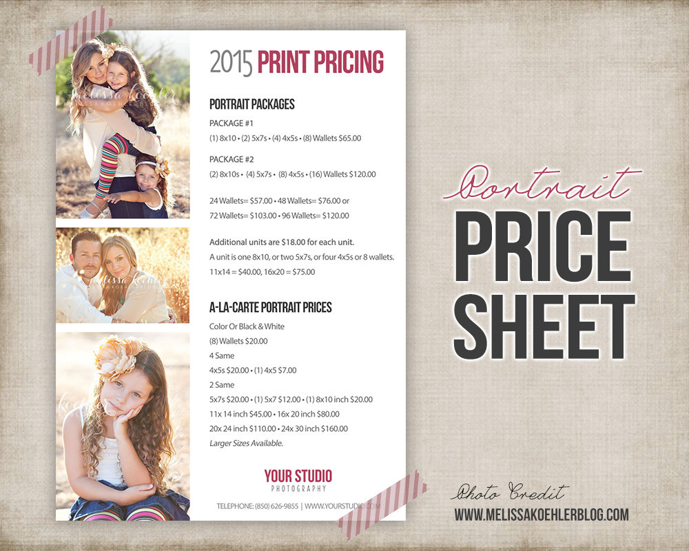 Photography Portrait Price List Photo Price Sheet Etsy