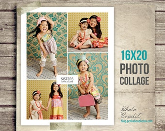 Sisters Photo Collage - Siblings Picture Collage - 16x20 - Collage Sisters - Children Photo Collage - Baby Photography - INSTANT DOWNLOAD