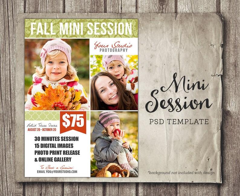 Fall Photography Marketing Board - 5x7 Mini Sessions PSD Newsletter  Template - Autumn Mini Session - Photography Marketing INSTANT DOWNLOAD