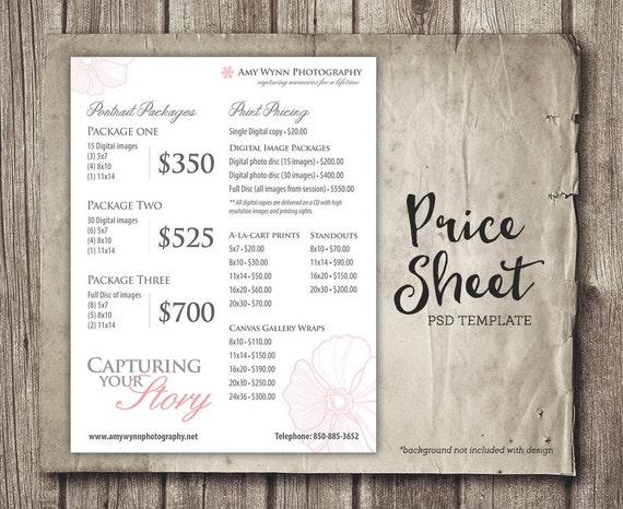 Wedding Rates Photography: Photography Price Sheet Package Pricing Photographer Price