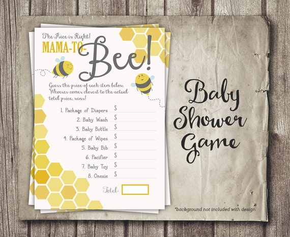 Bee Baby Shower Game Price Is Right Game Mom To Bee Baby Etsy