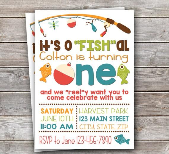 Fish Themed Invite Fishing Birthday Etsy