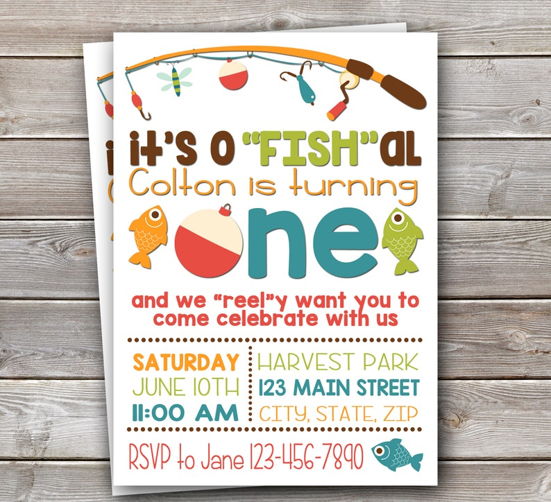 Fish Themed Invite Fishing Birthday Etsy