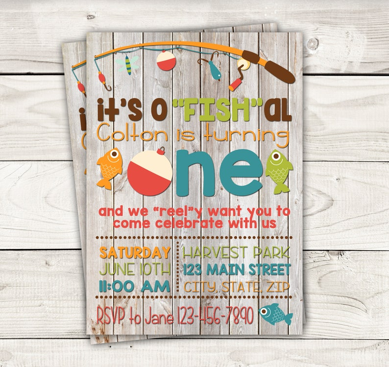 Fish Themed Invite With Wood Background Fishing Birthday Etsy